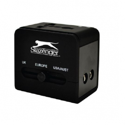SLAZENGER WORLDWIDE TRAVEL ADAPTOR BLACK SZ7076